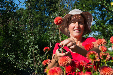 Woman in flower garden