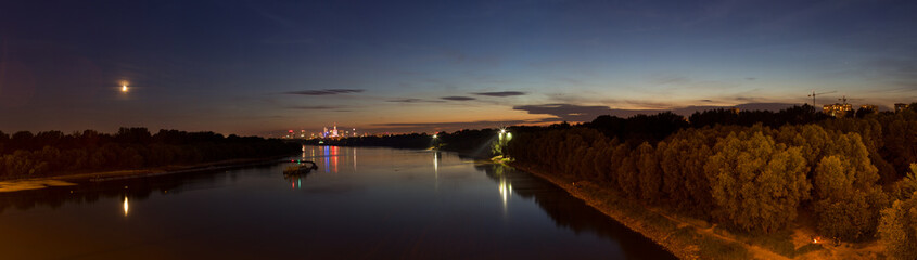 Warsaw panorama at night