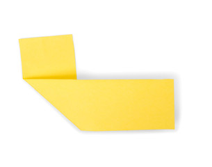 yellow sticky note on an isolated white background