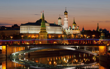 View of the Kremlin at dawn. Moscow. Russia