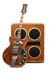 Guitar and column speaker