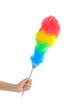 Leinwanddruck Bild - Soft colorful duster with plastic handle