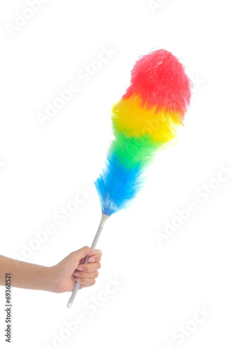 Leinwanddruck Bild Soft colorful duster with plastic handle