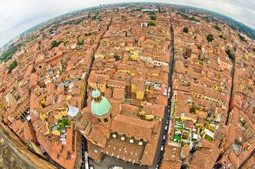 Fisheye cityscape view from two towers, Bologna