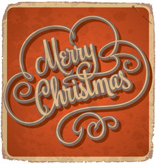 hand-lettered vintage Christmas card (vector)