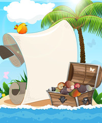 Desert island and treasure chest