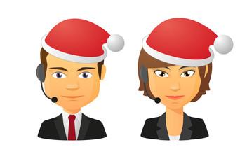 Telemarketing avatar set wearing santa hats