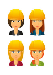 People wearing a work hat avatar set