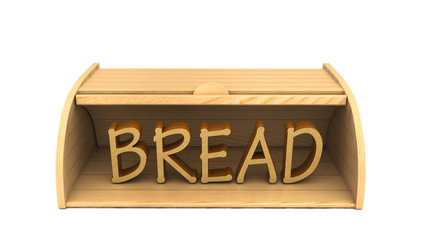 3d bread box and word bread isolated on white
