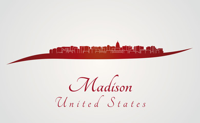 Madison skyline in red