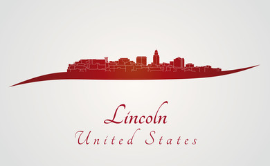 Lincoln skyline in red
