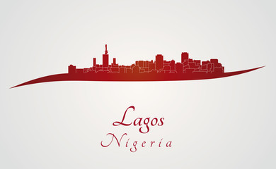 Lagos skyline in red