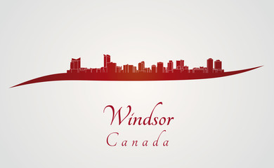 Windsor skyline in red