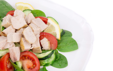 Radish salad with grilled chicken fillet.