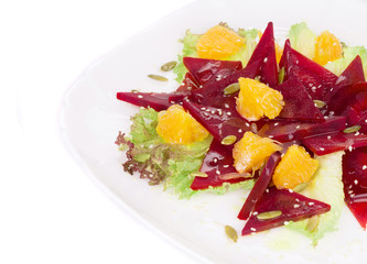 Beet salad with orange and seeds.