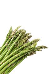 Fresh green asparagus on a white background.