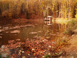 Autumn landscape, small  house near lake  in the woods