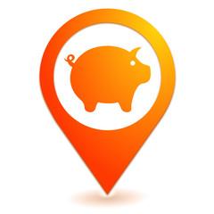 cochon sur symbole localisation orange
