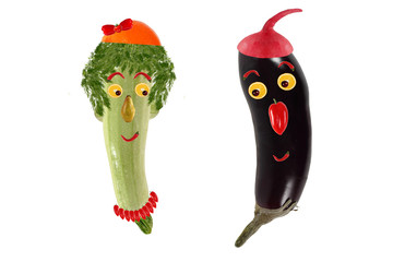 Funny portrait made of zucchini,  eggplant  and fruits
