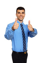 Attractive young man in blue shirt shows you thumbs up