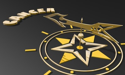 golden compass pointing the zodiac cancer constellation name