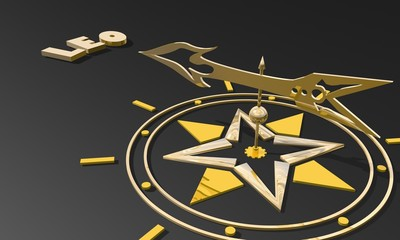 golden compass pointing the zodiac leo constellation name