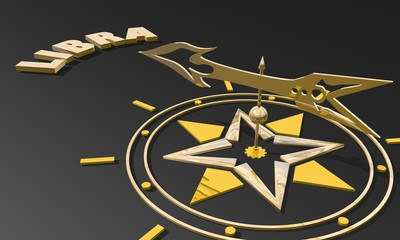 golden compass pointing the zodiac libra constellation name