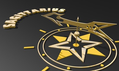 golden compass pointing zodiac sagittarius constellation name