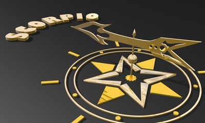 golden compass pointing the zodiac scorpio constellation name