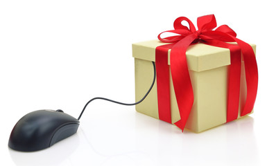 Gift box connected to a computer mouse