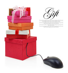 Stack of gift boxes connected to a computer mouse