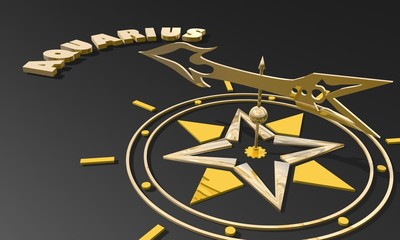 golden compass pointing the zodiac aquarius constellation name