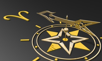 golden compass pointing the aries zodiac sign