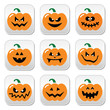Halloween pumpkin vector buttons set