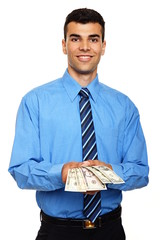 Attractive young man in blue shirt shows you money
