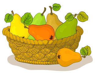 Basket with fruits, pears