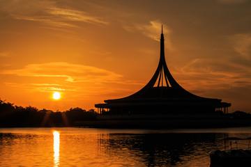 Silhouette shot of the iconic Ratchamongkol Pavillion at Rama 9