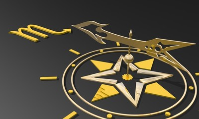 golden compass pointing the scorpio zodiac sign