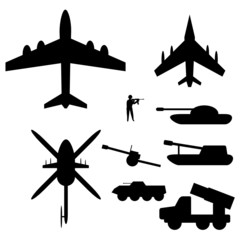 Set drawings of military equipment for Infographic
