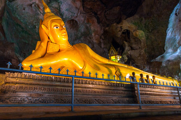 Lying gold Buddha in the temple of Thailand