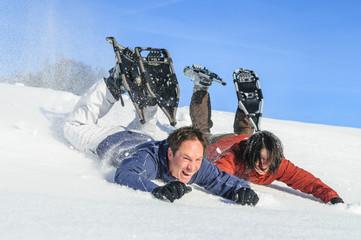 lustige Schneeschuh-Tour