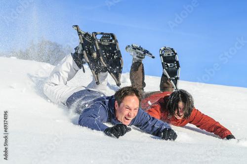 canvas print picture lustige Schneeschuh-Tour