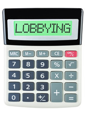 Calculator with LOBBYING on display isolated on white background