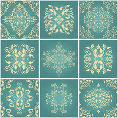 Abstract damask patterns set of nine seamless in retro style