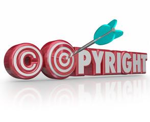 Copyright Red 3d Words Legal Symbol Target Arrow Bulls Eye