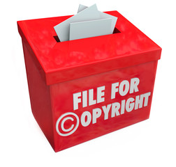 File for Copyright Red 3d Entry Box Intellectual Property Protec