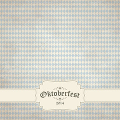 old vintage background with checkered pattern and patch Oktoberf