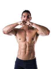Topless Man with Six Packs Abs