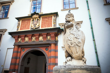 VIENNA, AUSTRIA - AUGUST 4, 2013: Lion statue at the Royal Palac