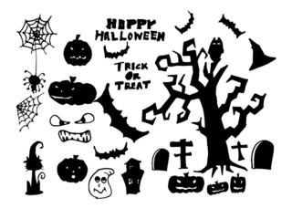 Set of funny cartoon doodle halloween elements